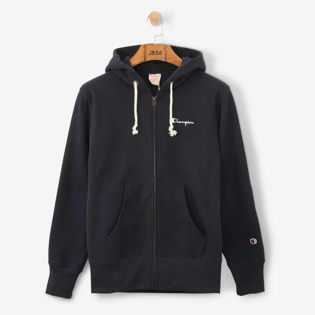 Champion Logo Full Zip Hooded Sweatshirt Navy