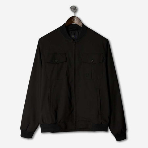 FRED PERRY Laurel Wreath Tonal Tipped Bomber Black