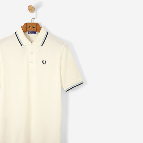 Fred Perry Reissues 1979 Pique Polo Shirt Snow White/Ice/Navy