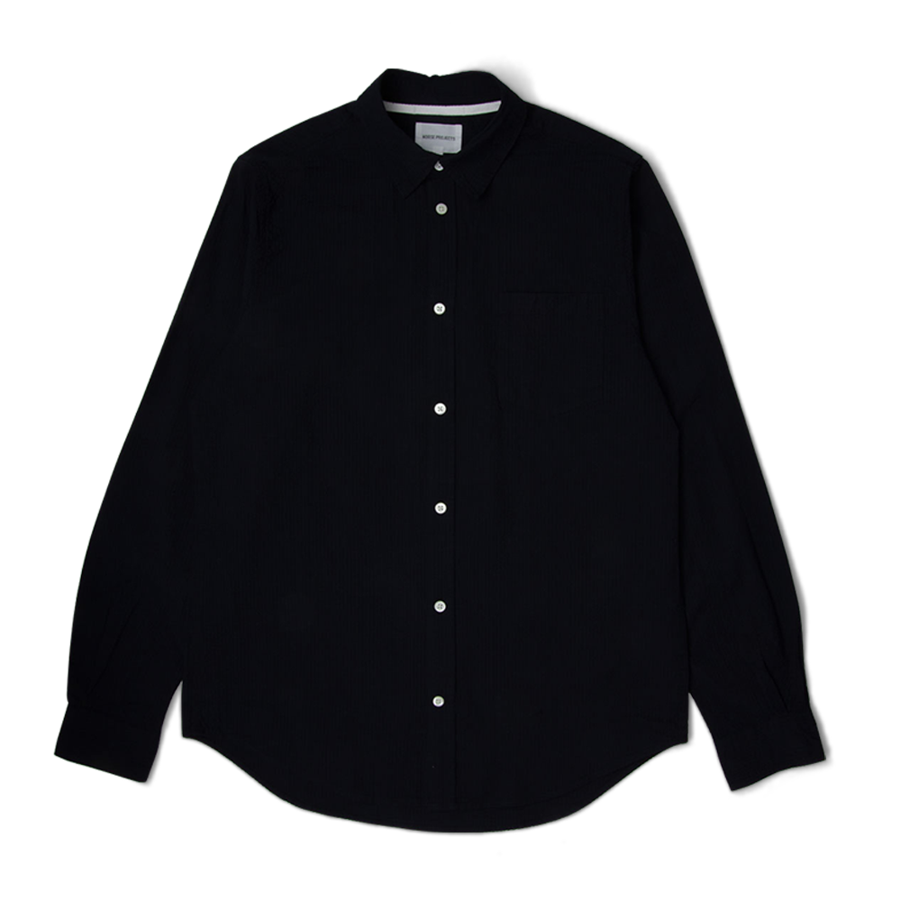 Norse Projects Osvald Seersucker Shirt Dark Navy