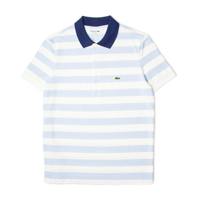 Lacoste Striped Cotton Piqué Polo Shirt White/Blue