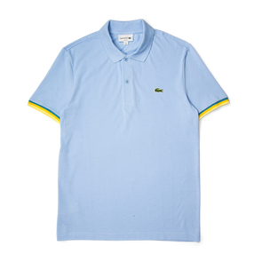 a128cbfb Lacoste Slim Fit Piped Sleeves Petit Piqué Polo Shirt Baby Blue