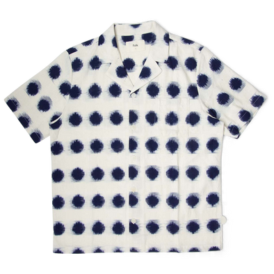 Folk Soft Collar SS Shirt Ecru Indigo Dot Ikat