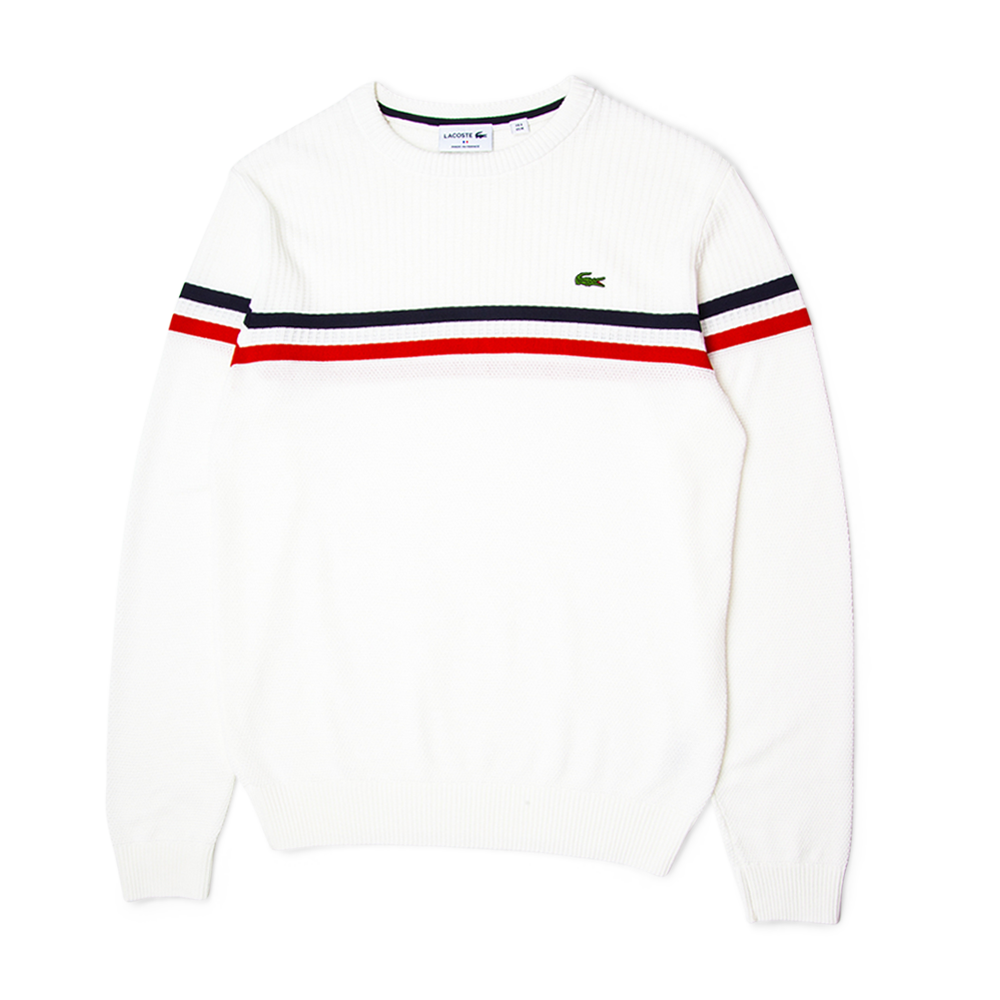 927c2a4d0 Lacoste Made In France Tricolour Striped Cotton Sweater White ...