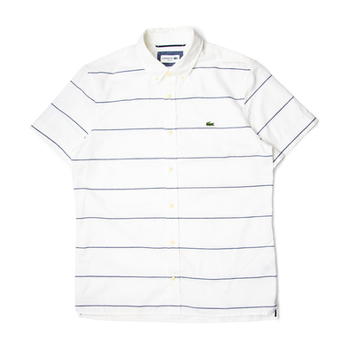 76bd976b Lacoste Slim Fit Striped Cotton And Linen Short Sleeves Shirt