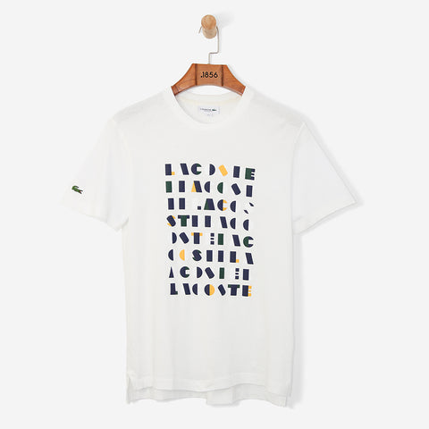 Lacoste 3D Lettering Jersey Tee White