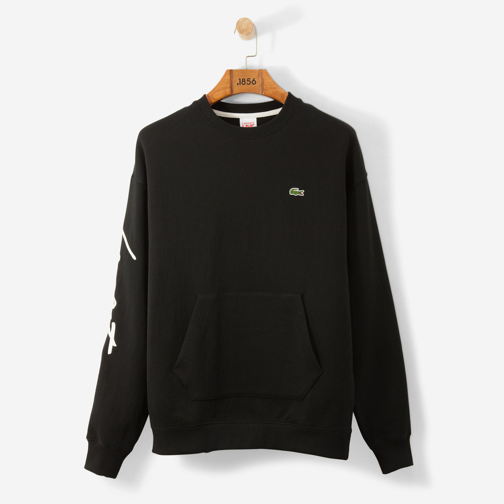 Lacoste Live Crew Neck Sweatshirt Embroidered Fleece Black