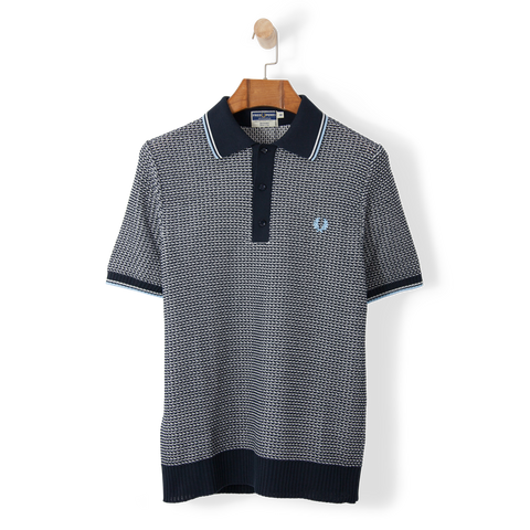 Fred Perry Reissues Two Colour Texture Knit Shirt Navy