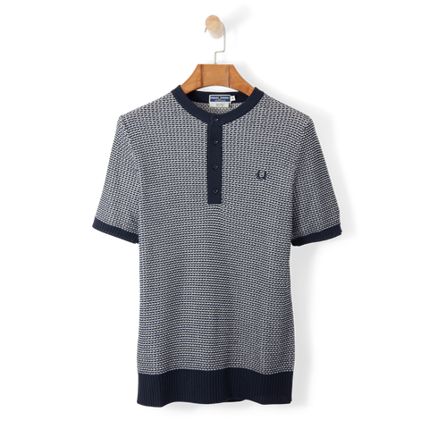 Fred Perry Reissues Two Colour Knit Button Neck Navy