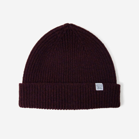 Norse Projects Lambswool Beanie Hermatite Red