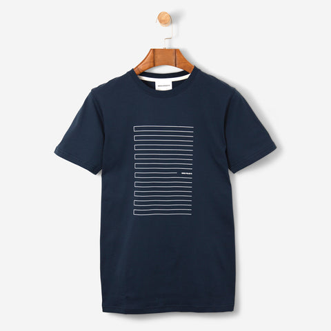 Norse Projects Niels Stripe Screen Logo Navy