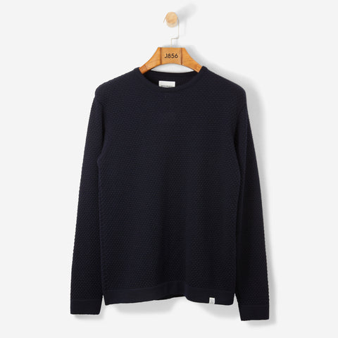 Norse Projects Skagen All Over Bubble Knit Dark Navy