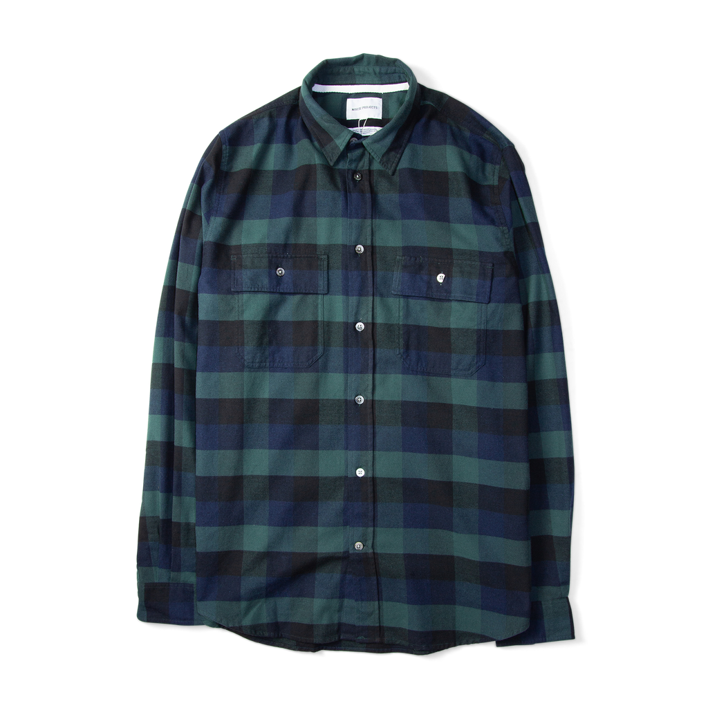 Norse Projects Villads Brushed Flannel Check Shirt Navy