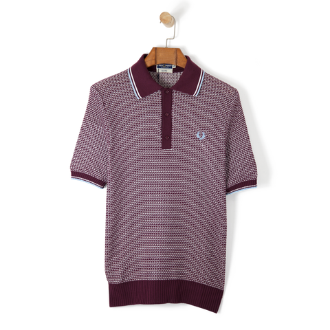 Fred Perry Reissues Two Colour Knit Shirt Maroon