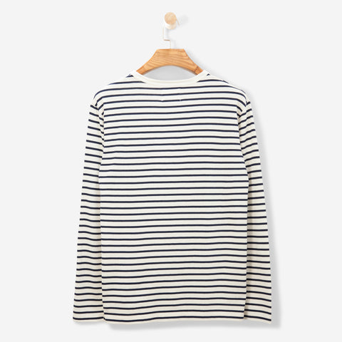 Wood Wood Mel L/S T Shirt Off White/ Navy Stripes