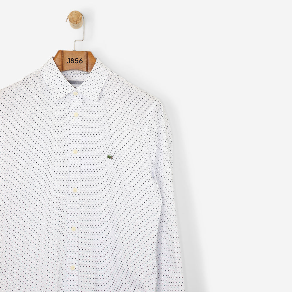 Lacoste Motion Slim Fit Print Poplin Shirt White