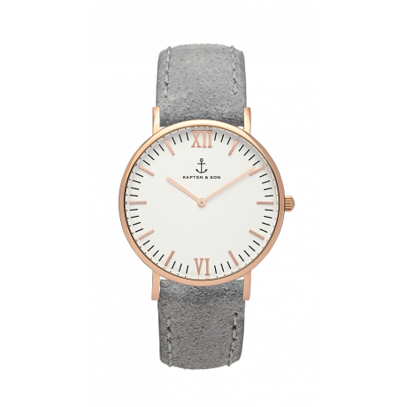 Kapten and Son Campina Rose Gold Antique Grey Leather