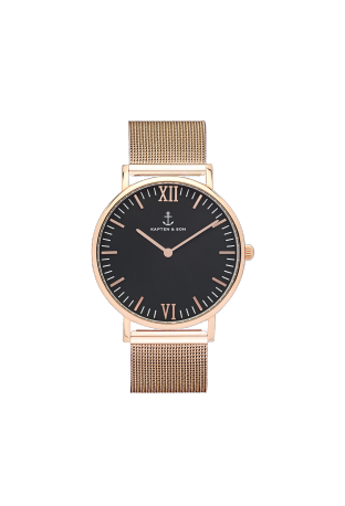 Kapten and Son Campina Rose Gold Black Mesh