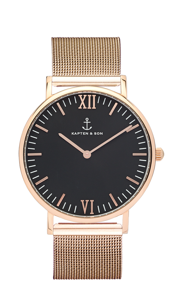Kapten & Son Campus Rose Gold  Black Mesh