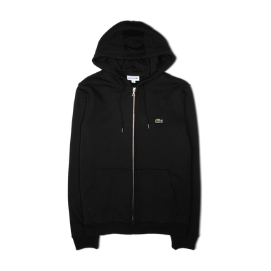 Lacoste Zip Through Logo Hooded Sweatshirt Black