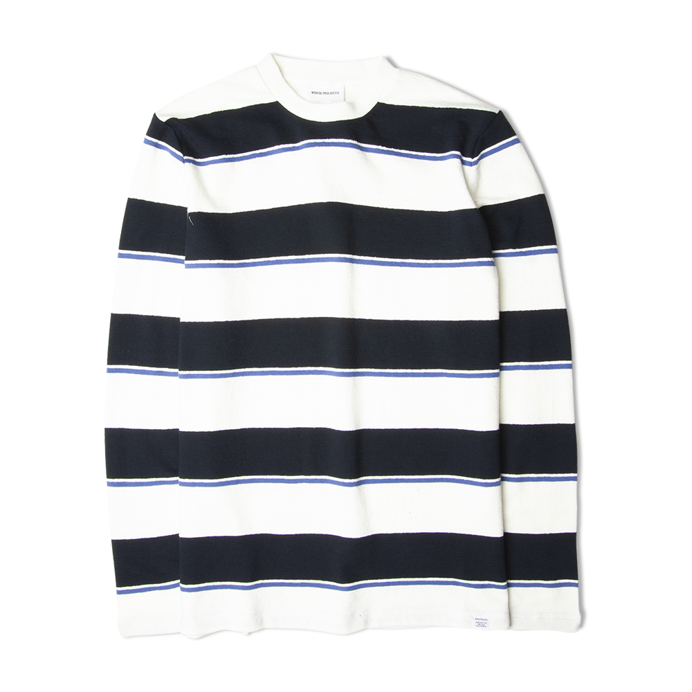 Norse Projects Johannes Textured Stripe LS Tee White/Navy