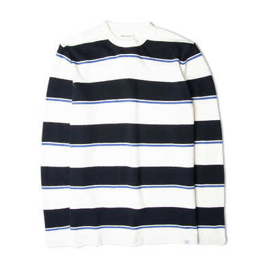 Norse Projects Johannes Textured Stripe LS Tee  Dark Navy