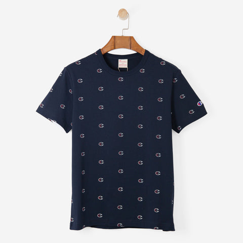 CHAMPION short sleeve all over print tee shirt Navy