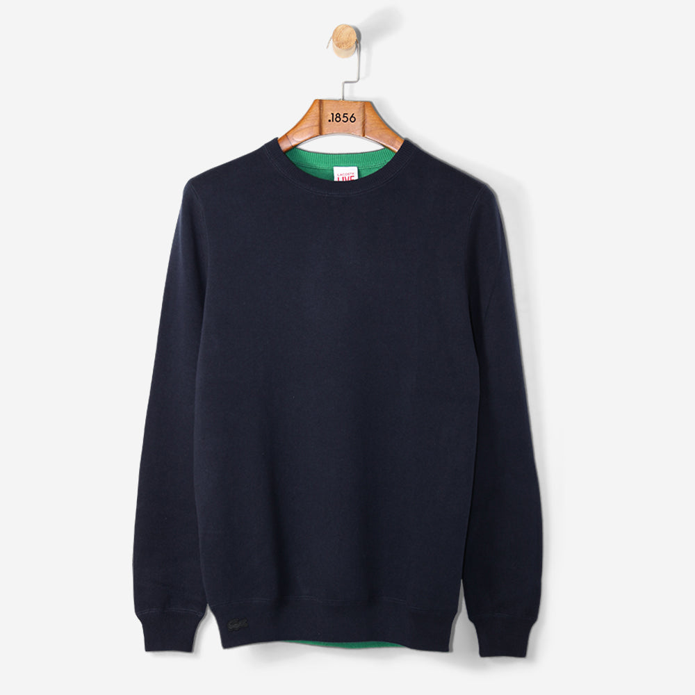 Lacoste Live Reversible Wool Jersey Sweater Navy Blue/ Coriander