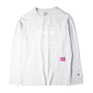 Champion X Wood Wood Long Sleeve Box Logo Tee Grey