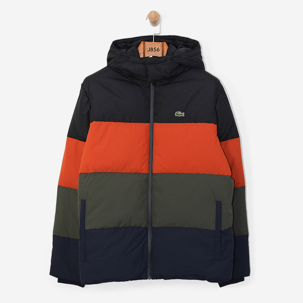 Lacoste Detachable Hood Quilted Taffeta Jacket Multicolour