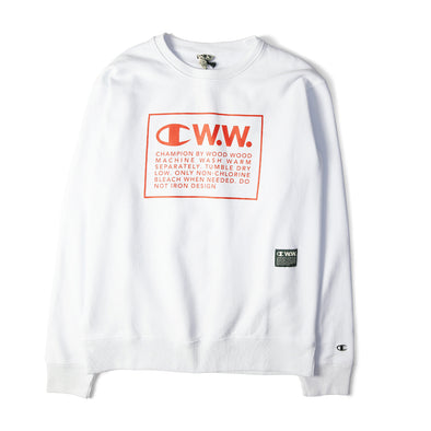 Champion X Wood Wood Box Logo Crewneck Sweatshirt White