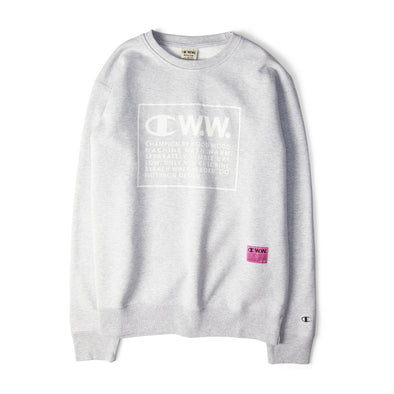 Champion X Wood Wood Box Logo Crewneck Sweatshirt Grey