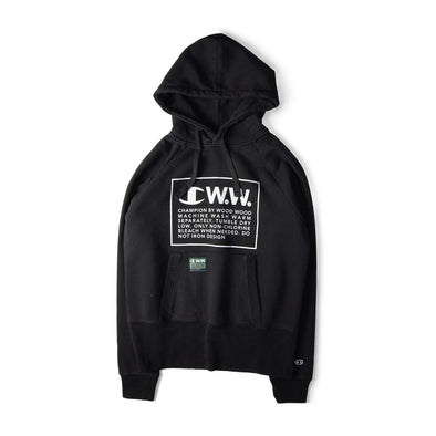Champion X Wood Wood Box Logo Hooded Sweatshirt Black