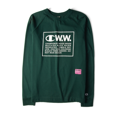 Champion X Wood Wood Long Sleeve Box Logo Tee Green