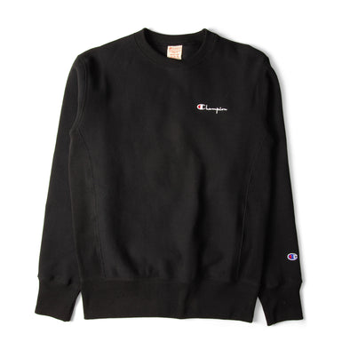 Champion Reverse Weave Rear Print Logo Crew Sweat Black