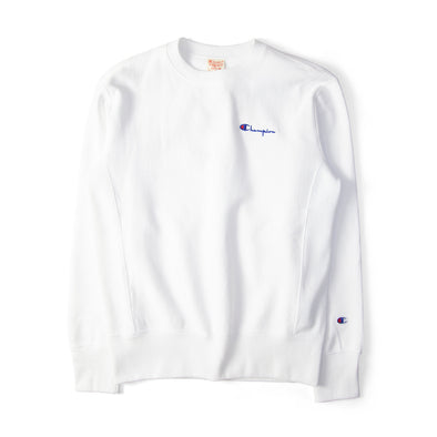 Champion Reverse Weave Rear Print Logo Crew Sweat White