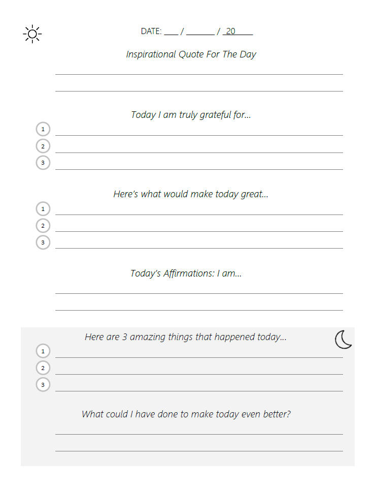 Adapted Five Minute Journal Template (PDF)