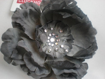 Diamante Flower Hair Elastic / Corsage: Grey