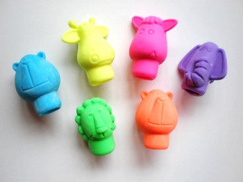 6 x Jungle Animal Erasers