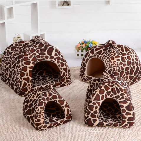Custom Comfortable Pet House (Strawberry/Leopard) (S/M/L/XL)