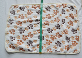 Custom Hand-Knitted Dog Blanket (Paw/Floral)
