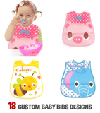 Cute Waterproof Baby Bibs (18 Custom Designs)