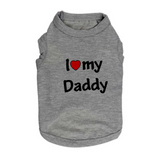 Custom Dog Shirt (Love Daddy/Mommy) (3 Colors, XS/S/M/L)