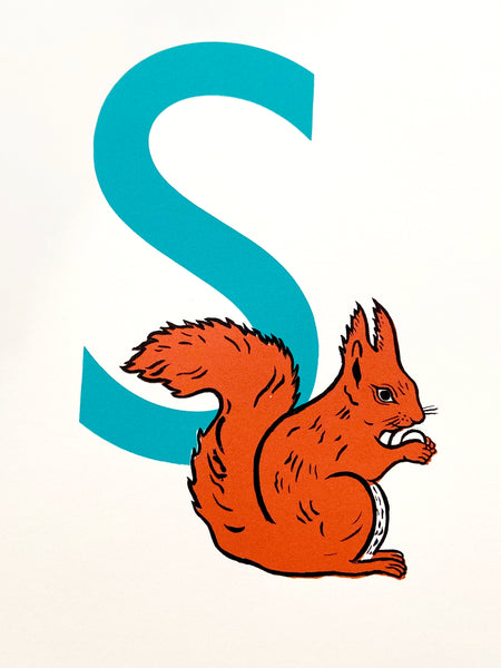 'S for Squirrel' screenprint