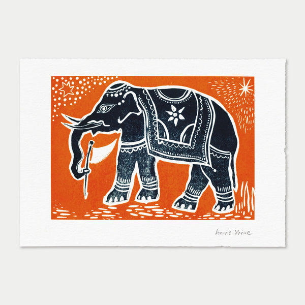 Elephant, art print by Annie Shrive, printmaker.