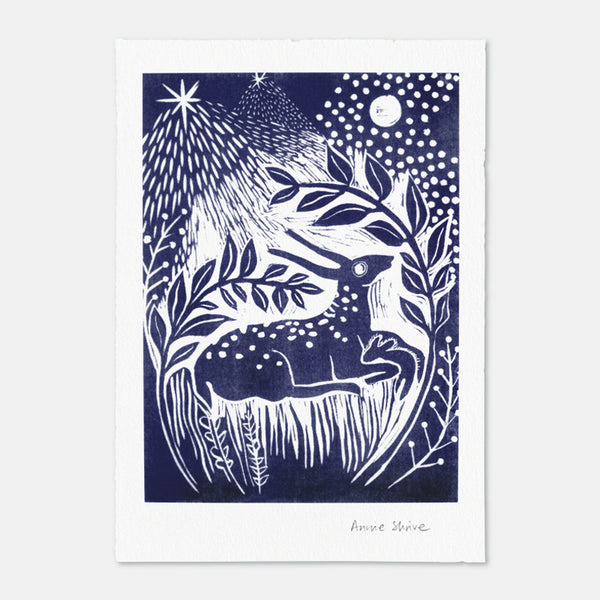 Fallow Deer, art print by Annie Shrive, printmaker.