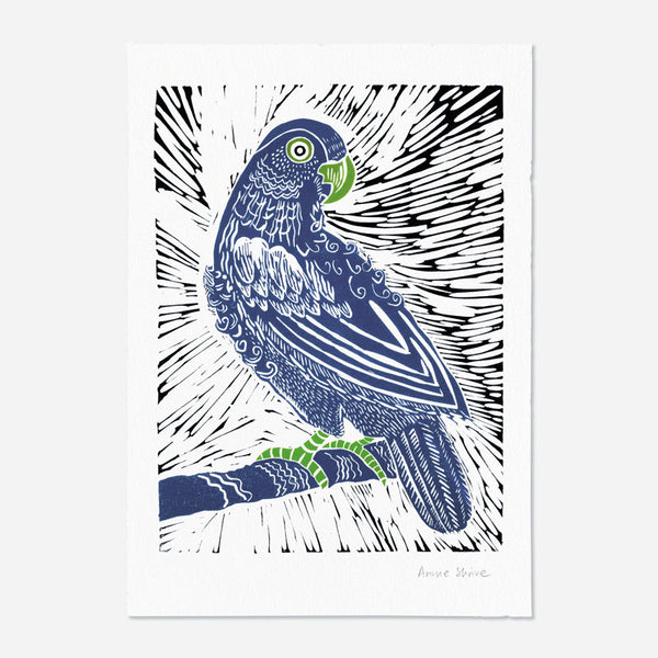 Parrot, art print by Annie Shrive, printmaker.