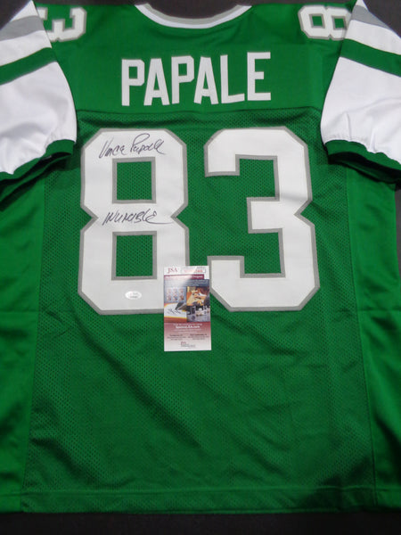 Vince Papale Philadelphia Eagles Autographed & Inscribed Custom Home Green Style Jersey w/JSA W coa