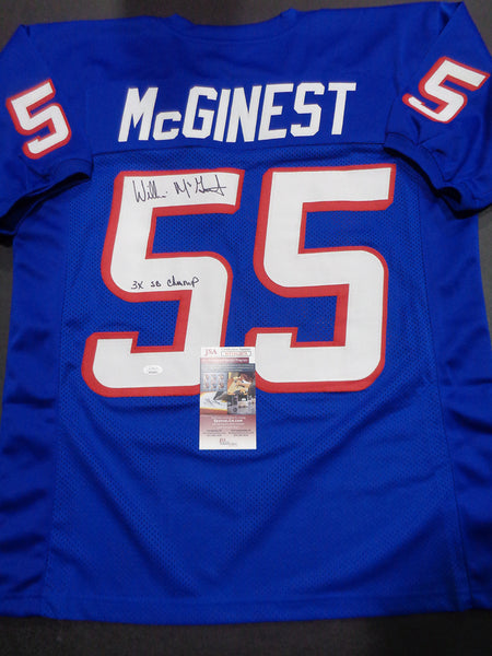 Willie McGinest New England Patriots Autographed & Inscribed Custom 1995-9 Blue Football Style Jersey w/JSA coa