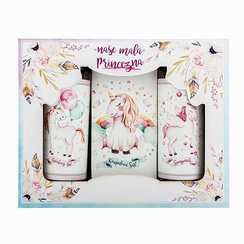 Set for girls - 100ml Shower Gel Set, 100ml Shampoo and 110g Salt - Princess